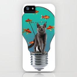 Grey Cat - Light Bulb - goldfishes iPhone Case
