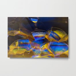 Blue and Yellow Bubbles Metal Print