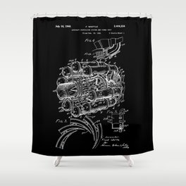 Jet Engine: Frank Whittle Turbojet Engine Patent - White on Black Shower Curtain
