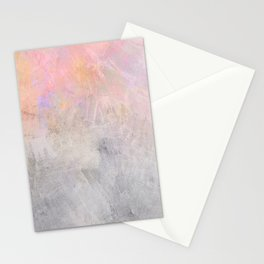 Pastel Candy Iridescent Marble on Concrete Stationery Cards