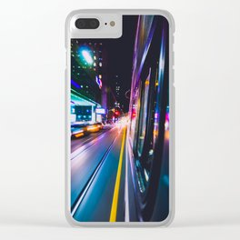 TORONTO STREETCAR AT NIGHT SPEEDING THROUGH DOWNTOWN CORE Clear iPhone Case