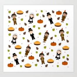 Pilgrims and Indians pattern - Thanksgiving Art Print