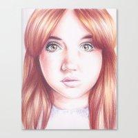 karen hallion Canvas Prints featuring karen gillan by Jill Schell