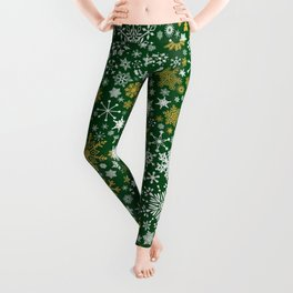 A Thousand Snowflakes in Candy Cane Green Leggings