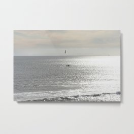 Silver sea boat and seagull seascape Metal Print
