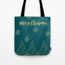 Merry Christmas Teal Gold Tote Bag