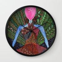 yoga Wall Clocks featuring yoga by mawilda