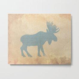 Rustic Nursery Moose Metal Print