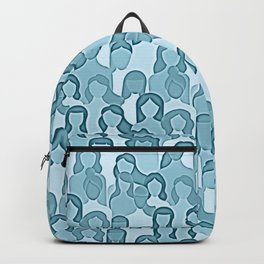 Together Strong - Women Power Watercolor Teal Blue Backpack