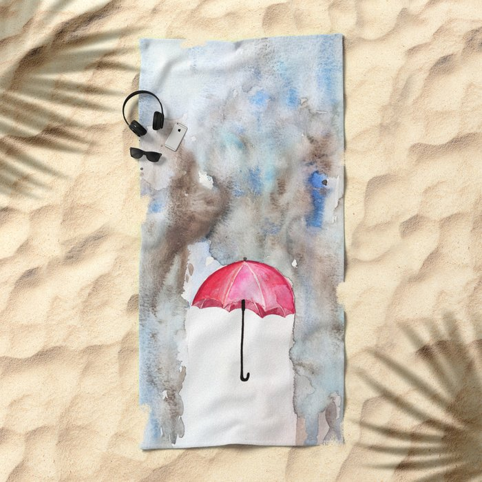 The Red Umbrella Beach Towel