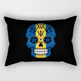 Sugar Skull with Roses and Flag of Barbados Rectangular Pillow