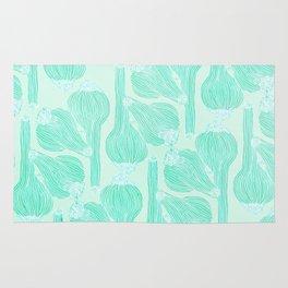 Garlics Pattern in Pastel Green Rug