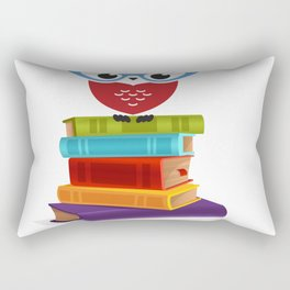 owl on the books with glass  Marcus Tullius Cicero quote Rectangular Pillow