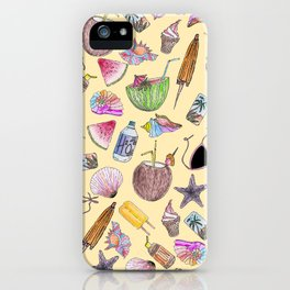 Summer Cute Girly Beach Collage on Yellow iPhone Case
