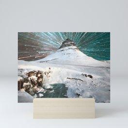 Iceland Night Kirkjufell Arrowhead mountain Mini Art Print