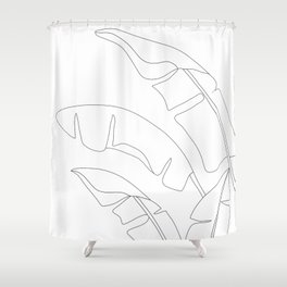Minimal Line Art Banana Leaves Shower Curtain