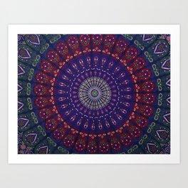 Blue Mandala Hippie Design Art Print