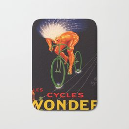1923 Vintage Les Cycles Wonder Electric Style French Bicycle Poster Bath Mat