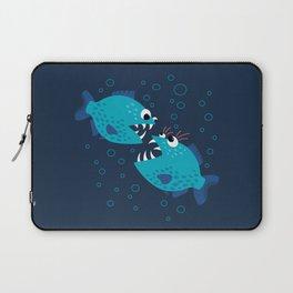 Gossiping Blue Piranha Fish Laptop Sleeve
