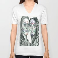lindsay lohan V-neck T-shirts featuring Meryl Streep and Lindsay Lohan  by Jimmy Lee