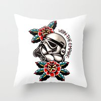 trooper Throw Pillows featuring Trooper by dcyoungtattooer