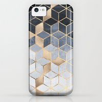iPhone 5c Case featuring Soft Blue Gradient Cubes by Elisabeth Fredriksson