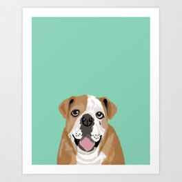 Roscoe - English bulldog dog dogs pet pets gifts for dog person dog people  Art Print