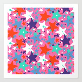 Fun ditsy print with constellations and twinkle lights Art Print