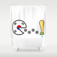 korea Shower Curtains featuring Korea World Cup 2014 by onejyoo