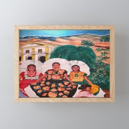 Zapotec Women and Indigenous Dress, Tehuantepec, Isthmus Region, Oaxaca, Mexico portrait painting Framed Mini Art Print