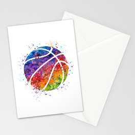 Basketball Ball Colorful Watercolor Sports Art Stationery Cards