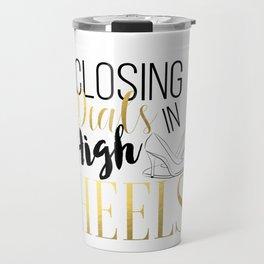 Closing Deals In High Heels,Fashion Print Travel Mug