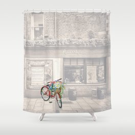 Red Bicycle in front of a Kennedys Bar Ireland Shower Curtain