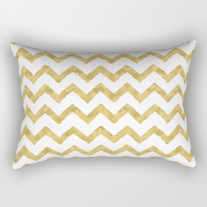 Chevron Gold And White Rectangular Pillow