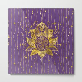 Gold Lotus flower and OM symbol Metal Print