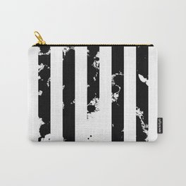 Splatter Bars - Black ink, black paint splats in a stripey stripy pattern Carry-All Pouch