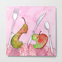 Food Fight Metal Print