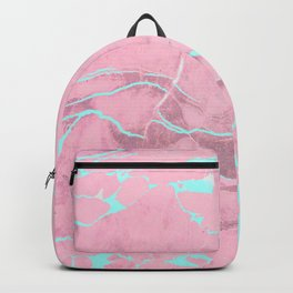 Pink Marble with Light Blue Backpack