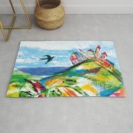 Swallow in the fairytale, painted pattern for kids, colourfull illustration Rug