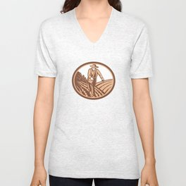 Organic Farmer Sowing Seed Woodcut Retro Unisex V-Neck