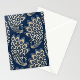 Blue and Gold Art Deco Peakock Stationery Cards