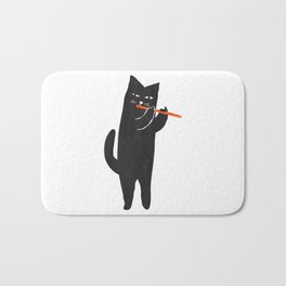 Black cat with flute Bath Mat