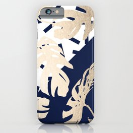 Simply Tropical Nautical Navy Memphis Palm Leaves iPhone Case