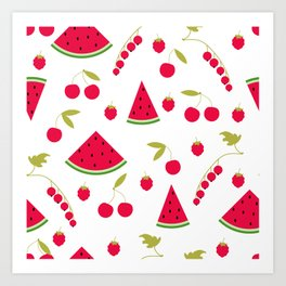 Pattern watermelon cherry raspberry currant Art Print