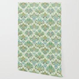 Jade Enamel Art Deco Fans Wallpaper