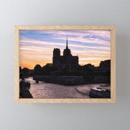 Sunset on Notre Dame de Paris - Paris, France Framed Mini Art Print