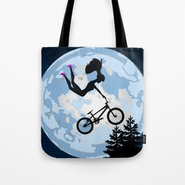 Doll Riding A BMX - ET Style - With Pink Stilettos! Tote Bag
