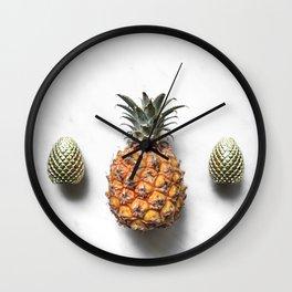 Golden Pineapple & Gilded Pinecones Wall Clock