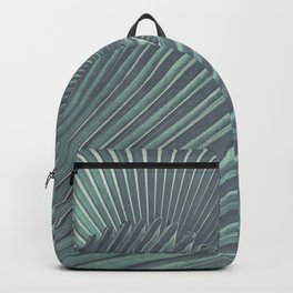 Tropical Palm Leaf Matte Teal Backpack