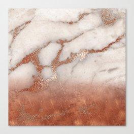 Shiny Copper Metal Foil Gold Ombre Bohemian Marble Canvas Print